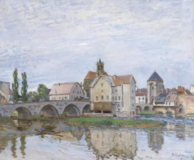 Moret on Long Time Gray, Oil On Canvas by Alfred Sisley (1839-1899, France)