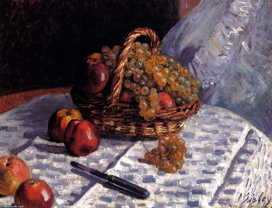 Apples and Grapes in a Basket, Oil On Canvas by Alfred Sisley (1839-1899, France)