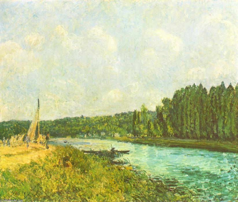The Banks of the Oise, Oil On Canvas by Alfred Sisley (1839-1899, France)