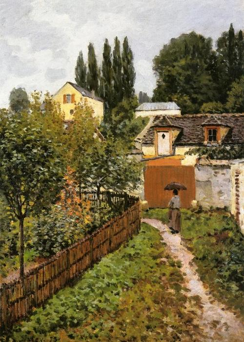 Garden Path in Louveciennes (Chemin de l Etarch), Oil On Canvas by Alfred Sisley (1839-1899, France)