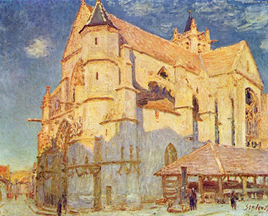 Church of Moret, Oil On Canvas by Alfred Sisley (1839-1899, France)