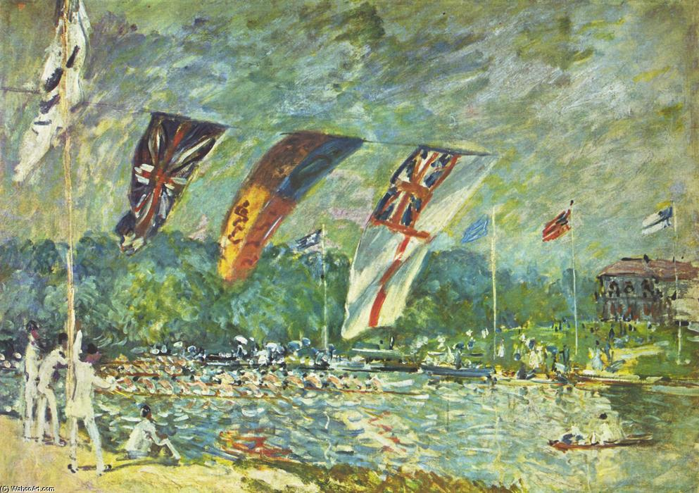 The regattas Moseley, Oil On Canvas by Alfred Sisley (1839-1899, France)