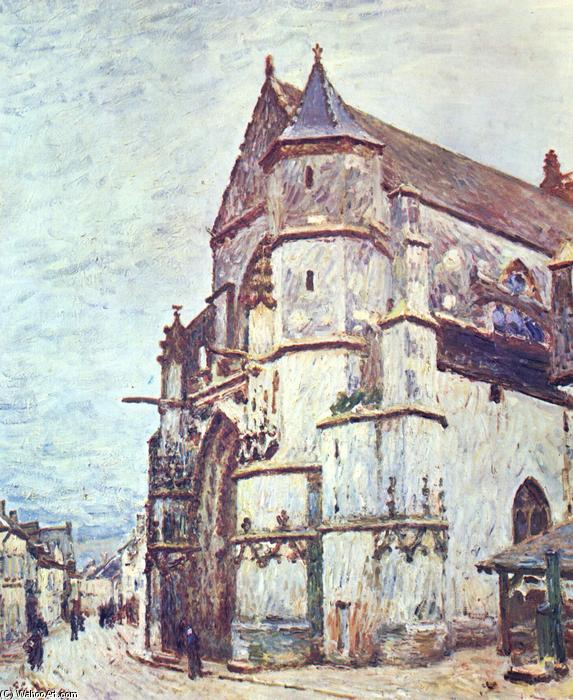Church at Moret after the Rain, Oil On Canvas by Alfred Sisley (1839-1899, France)
