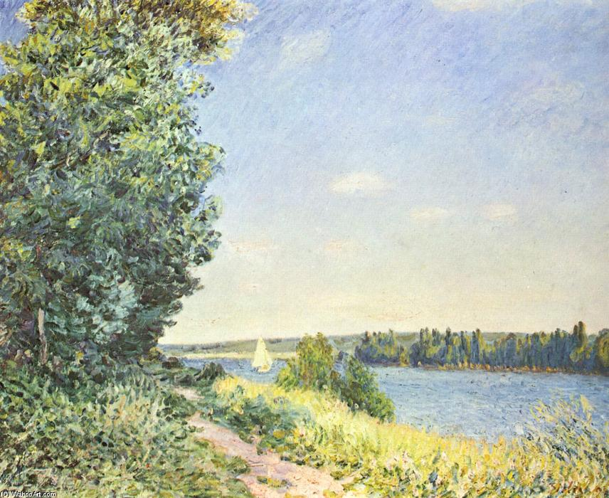 Normandy, the water path, in the evening at Sahurs, Oil On Canvas by Alfred Sisley (1839-1899, France)