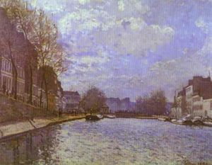 Order Art Reproductions | The Saint Martin Canal in Paris, 1870 by Alfred Sisley (1839-1899, France) | WahooArt.com