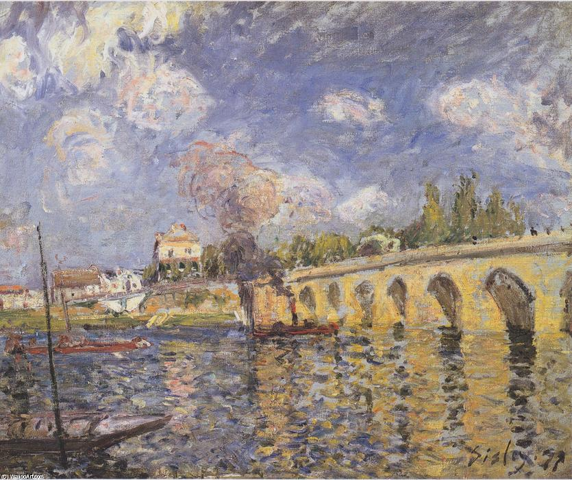 River steamboat and bridge, Oil On Canvas by Alfred Sisley (1839-1899, France)