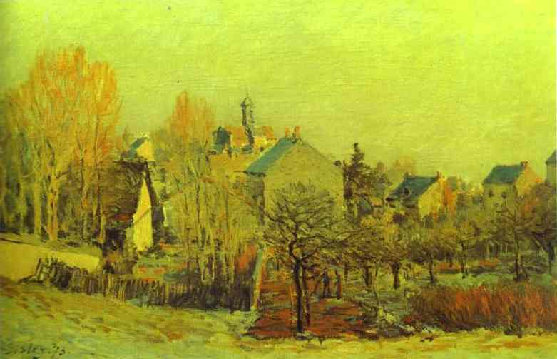Frost in Louveciennes, 1873 by Alfred Sisley (1839-1899, France) | WahooArt.com