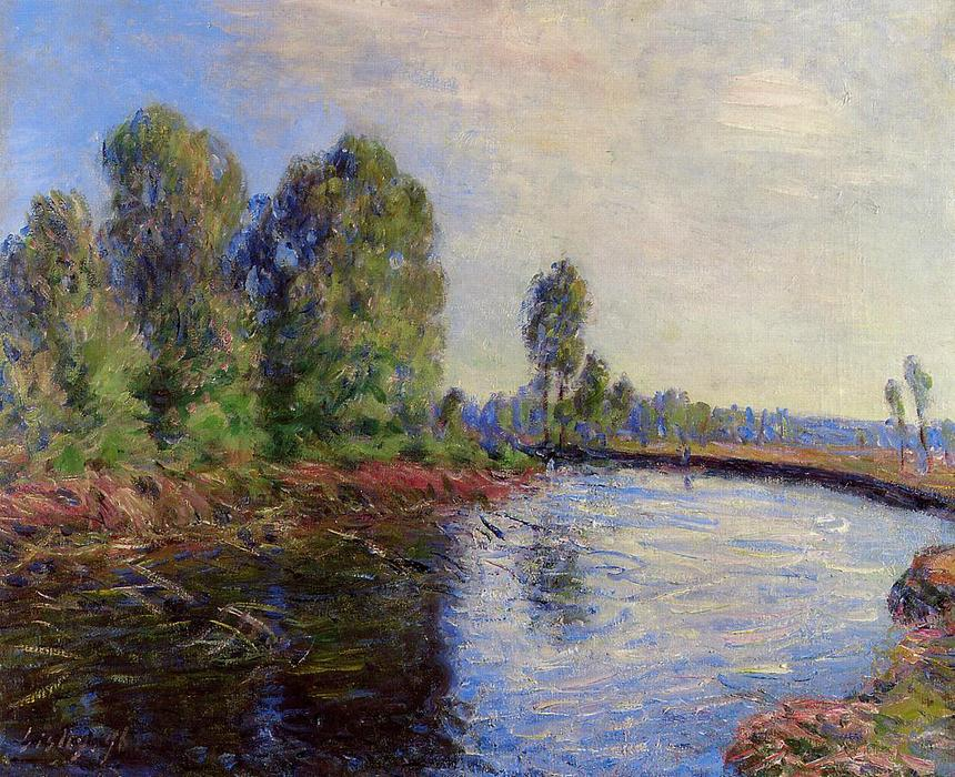 Banks of the Loing, 1896 by Alfred Sisley (1839-1899, France) | Painting Copy | WahooArt.com
