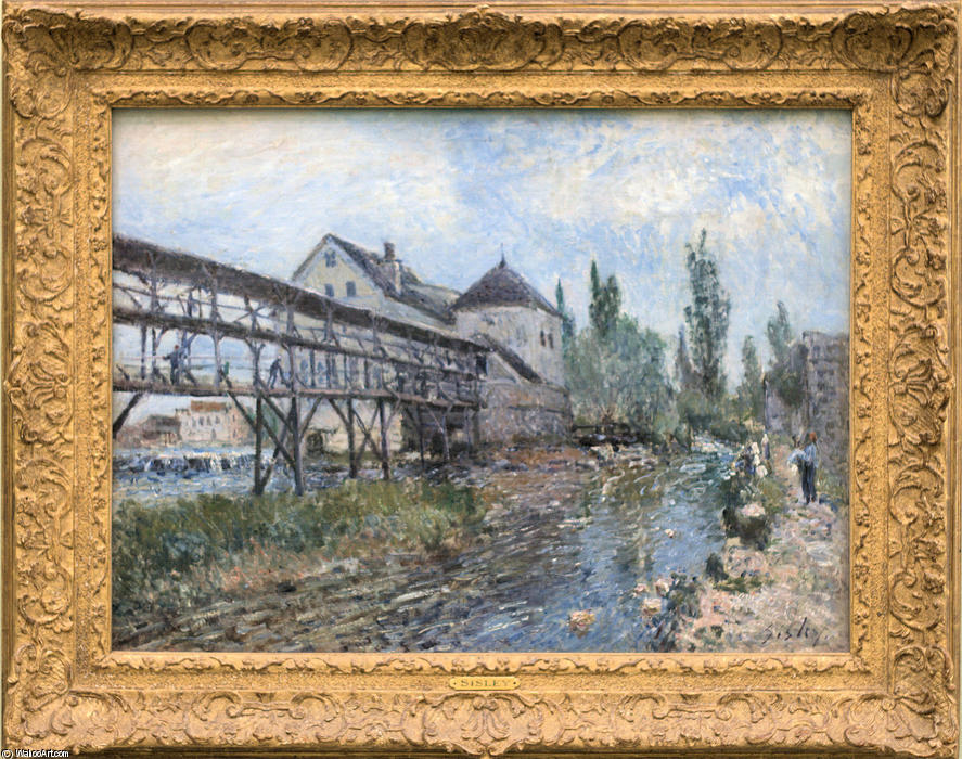 Watermill near Moret by Alfred Sisley by Alfred Sisley (1839-1899, France)