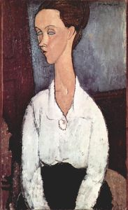 Amedeo Modigliani - Portrait of Lunia Czechowska in white blouse