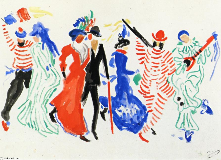 Figures from a Carnival, 1906 by André Derain (1880-1954, France) | Famous Paintings Reproductions | WahooArt.com