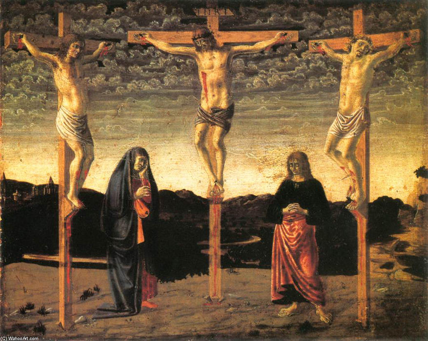 Crucifixion, Oil On Panel by Andrea Del Castagno (1419-1457, Italy)