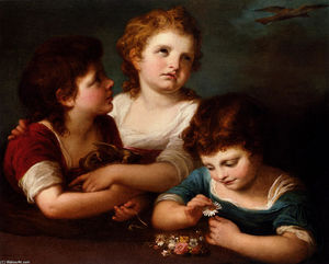 Angelica Kauffman (Maria Anna Angelika) - Children with a bird's nest and flowers