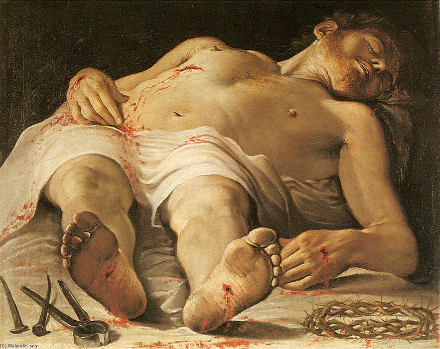 The Dead Christ, Oil On Canvas by Annibale Carracci (1560-1609, Italy)