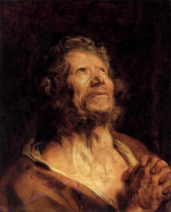 Order Paintings Reproductions | An Apostle with Folded Hands, 1620 by Anthony Van Dyck (1599-1641, Belgium) | WahooArt.com