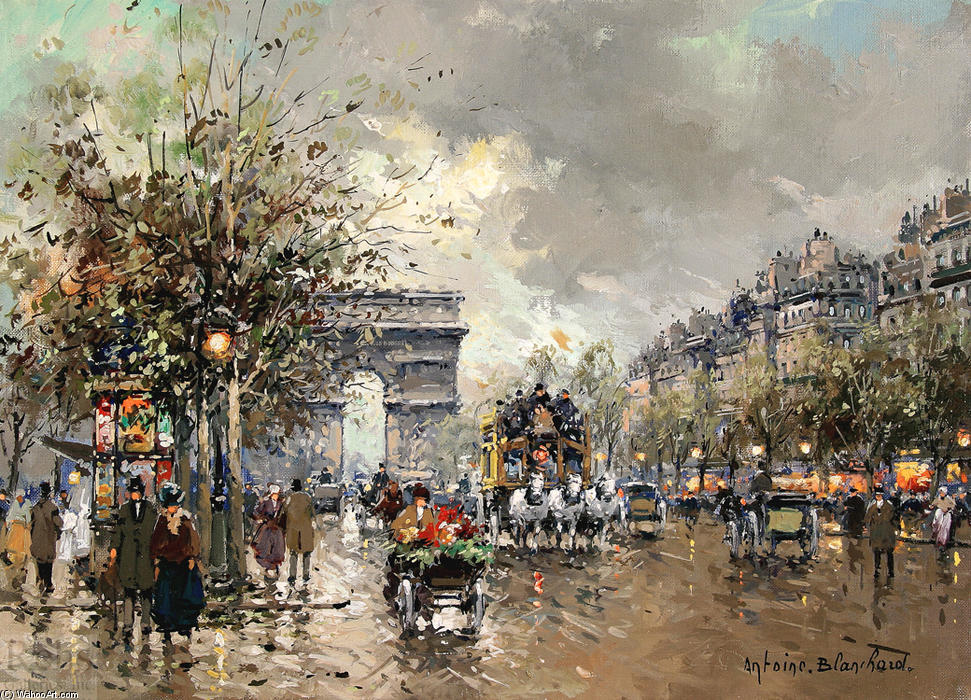 Arc de Triomphe by Antoine Blanchard (Marcel Masson) (1910-1988, France) | Oil Painting | WahooArt.com