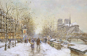 Antoine Blanchard (Marcel Masson) - Winter in Paris, Notre Dame