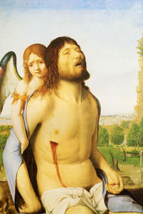 Antonello Di Giovanni Di Antonio (Antonello Da Messina) - The Dead Christ Supported by an Angel