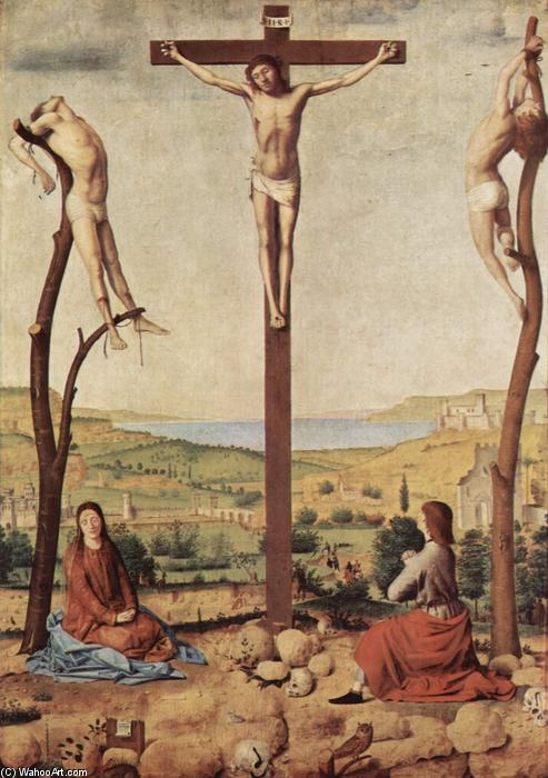 Order Oil Painting : Crucifixion, 1475 by Antonello Di Giovanni Di Antonio (Antonello Da Messina) (1430-1479, Italy) | WahooArt.com