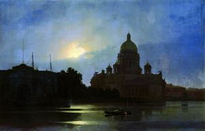 Arkhip Ivanovich Kuinji - View of the Isaac Cathedral at Moonlight Night
