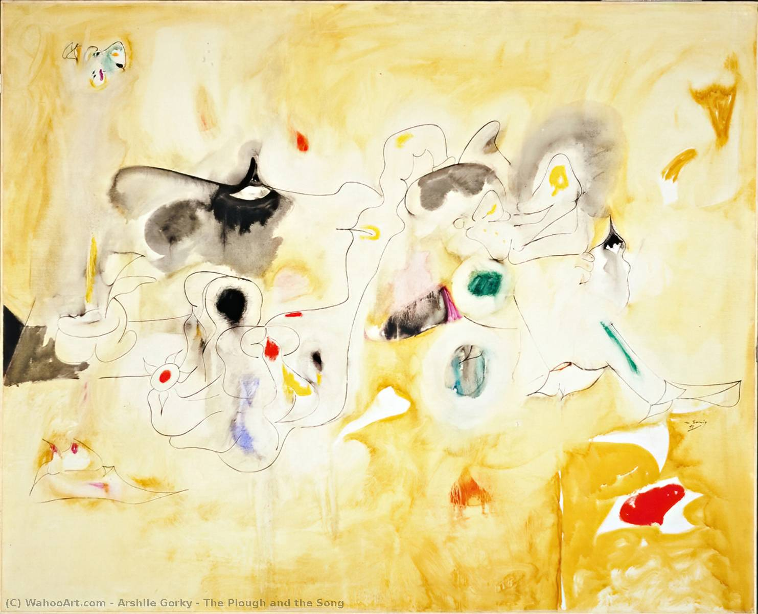 The Plough and the Song, Oil On Canvas by Arshile Gorky (1904-1948, Turkey)