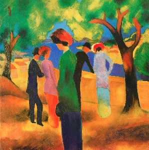 August Macke - Woman in a Green Jacket - (Famous paintings)