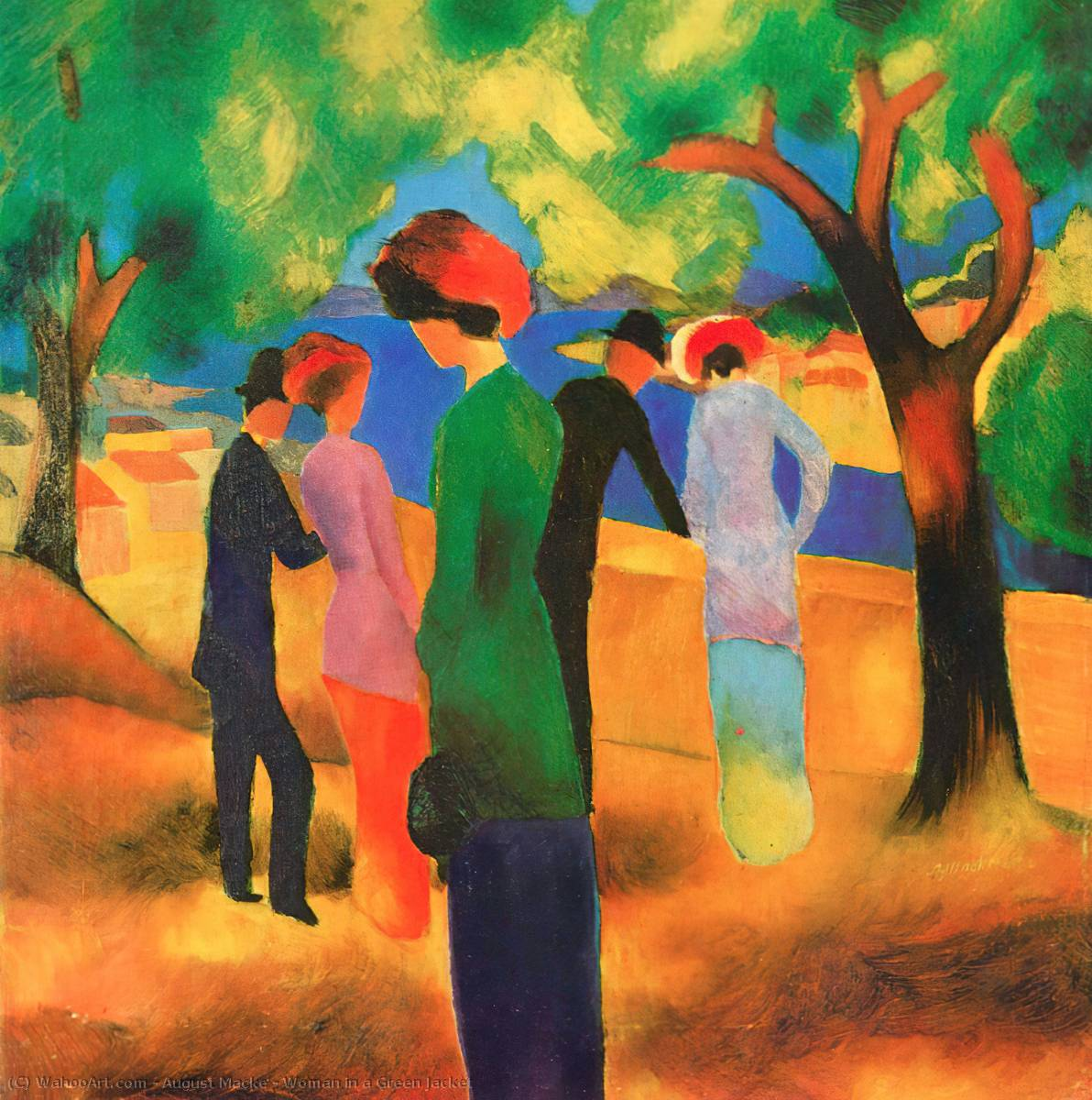 Woman in a Green Jacket, Oil On Canvas by August Macke (1887-1914, Germany)