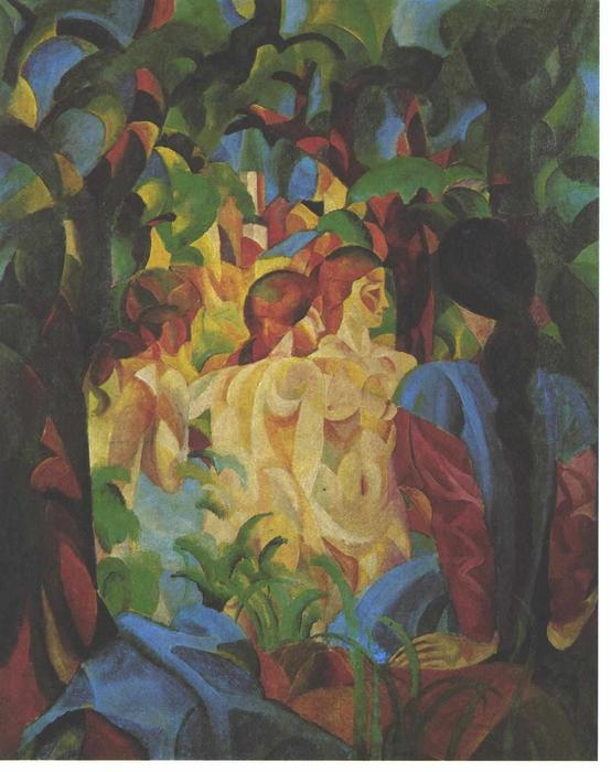 Bathing girls with town in the backgraund, 1913 by August Macke (1887-1914, Germany)