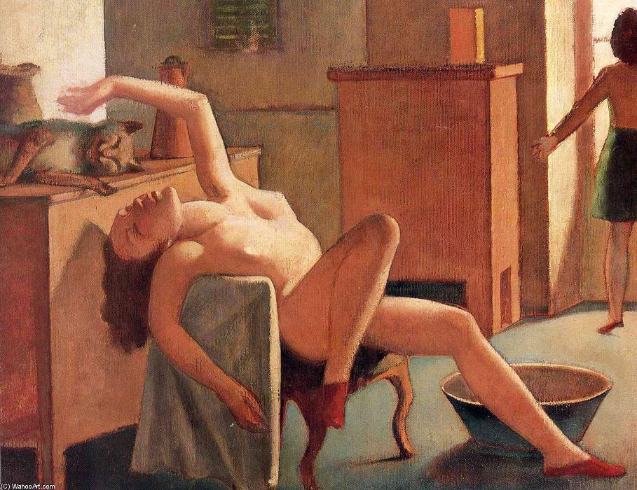 Nude with Cat, 1949 by Balthus (Balthasar Klossowski) (1908-2001, France) |  | WahooArt.com