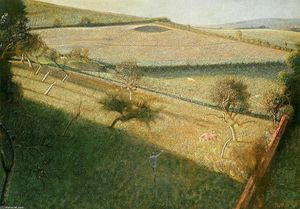 Balthus (Balthasar Klossowski) - Great landscape with trees (The triangular field)