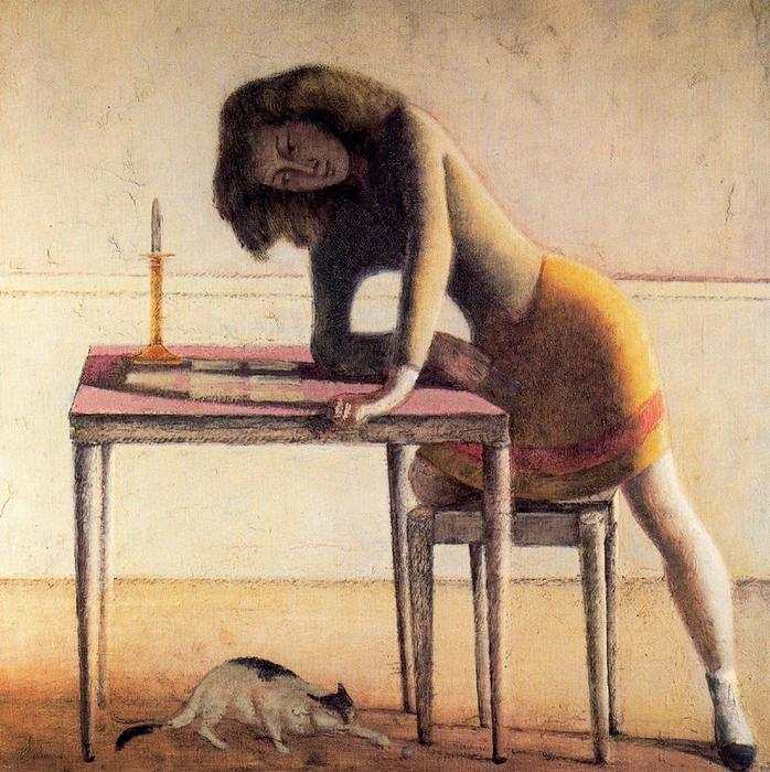 Patience, 1955 by Balthus (Balthasar Klossowski) (1908-2001, France) | Painting Copy | WahooArt.com