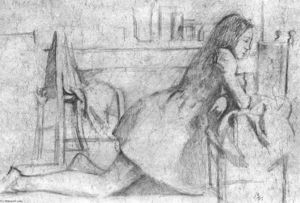 Balthus (Balthasar Klossowski) - Girl kneeling, her arms on a chair