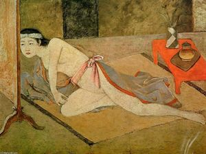 Balthus (Balthasar Klossowski) - Japanese Girl with by the Red Table