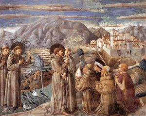 Benozzo Gozzoli - Preaching to the Birds and Blessing Montefalco