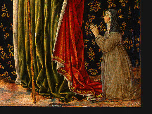 Saint Ursula with Angels and Donor (detail), 1455 by Benozzo Gozzoli (1420-1497, Italy) | Art Reproduction | WahooArt.com