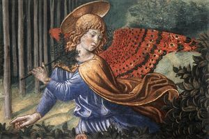 Order Paintings Reproductions | Angels Worshipping (detail), 1461 by Benozzo Gozzoli (1420-1497, Italy) | WahooArt.com
