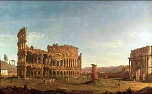 Bernardo Bellotto - Colosseum and Arch of Constantine (Rome)