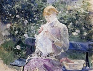 Berthe Morisot - Pasie sewing in Bougival-s Garden