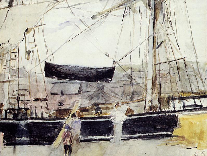 Boat on the Quay, 1875 by Berthe Morisot (1841-1895, France) | Famous Paintings Reproductions | WahooArt.com