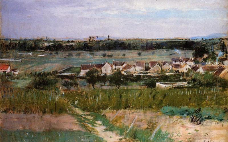 The village of Maurecourt, 1873 by Berthe Morisot (1841-1895, France) | Oil Painting | WahooArt.com