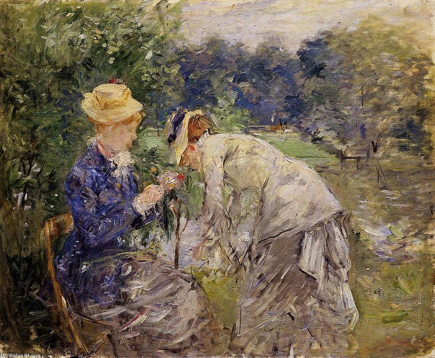 In the Bois de Boulogne by Berthe Morisot (1841-1895, France) | Famous Paintings Reproductions | WahooArt.com