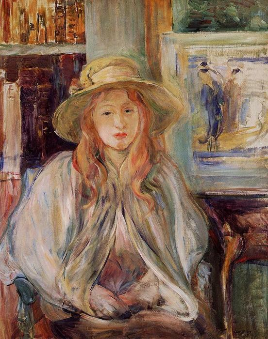 Julie Manet with a straw hat, 1892 by Berthe Morisot (1841-1895, France) | Oil Painting | WahooArt.com