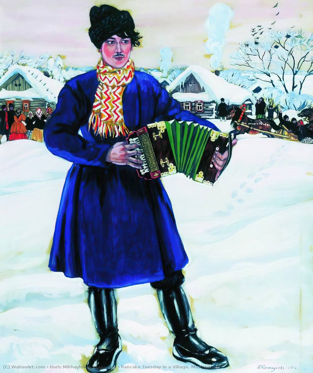 Pancake Tuesday in a Village. Maslenitsa, 1916 by Boris Mikhaylovich Kustodiev (1878-1927, Russia)