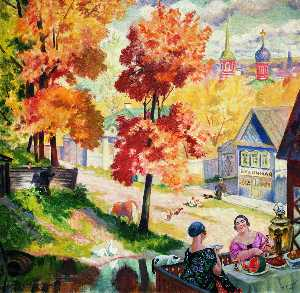 Boris Mikhaylovich Kustodiev - Autumn in the province. Teatime
