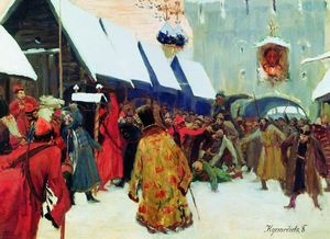 Boris Mikhaylovich Kustodiev - Revolt against the boyars in the old Russia