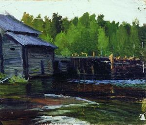 Boris Mikhaylovich Kustodiev - Pavlov's mill on the river Yahrust
