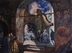 Boris Mikhaylovich Kustodiev - Under the arches of the old church
