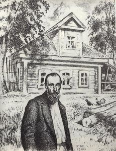 Boris Mikhaylovich Kustodiev - S.P. Podyachev in his hut in the village Obolyaninove
