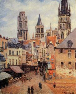 Camille Pissarro - Rue de l'epicerie at Rouen, on a Grey Morning