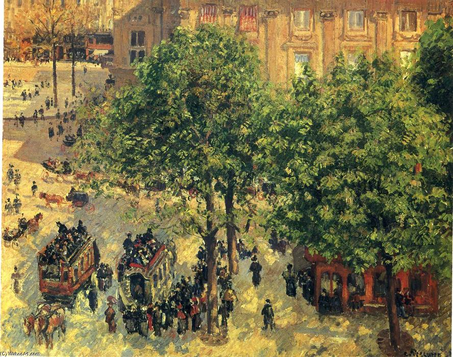 Place du Theatre-Francais, Spring, 1898 by Camille Pissarro (1830-1903, United States) | WahooArt.com